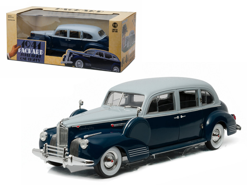 1941 Packard Super Eight One-Eighty Silver French Gray Metallic Duco and Barola Blue 1/18 Diecast Model Car Greenlight 12970