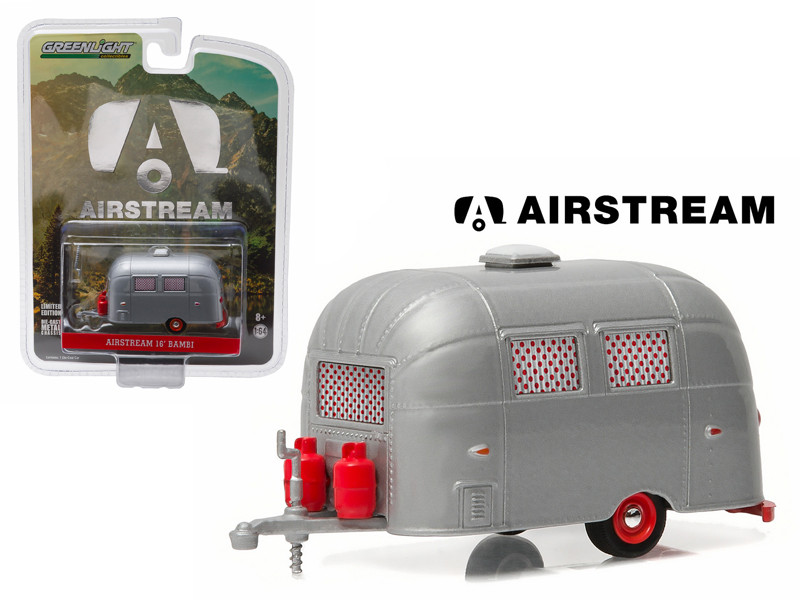 Airstream Bambi Sport 16' Trailer Silver with Red Accents and Curtains Hobby Exclusive 1/64 Diecast Model Greenlight 29857