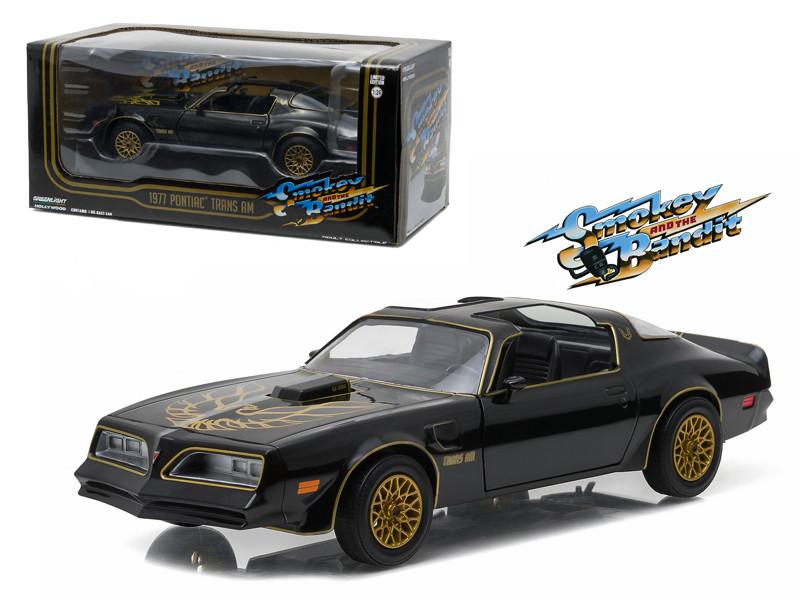 "1977 Pontiac Trans Am Black ""Smokey and the Bandit"" Movie 1/24 Diecast Model Car Greenlight 84013"