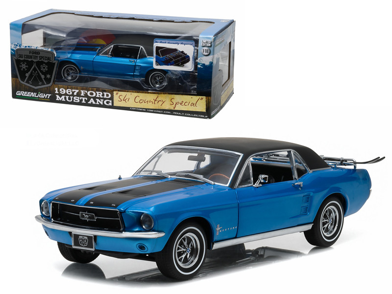 """1967 Ford Mustang Coupe """"Ski Country Special"""" Vail Blue 1/18 Diecast Model Car Greenlight 12965"""