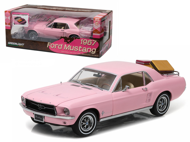 1967 Ford Mustang Coupe Pink with Luggage 1/18 Diecast Model Car Greenlight 12966