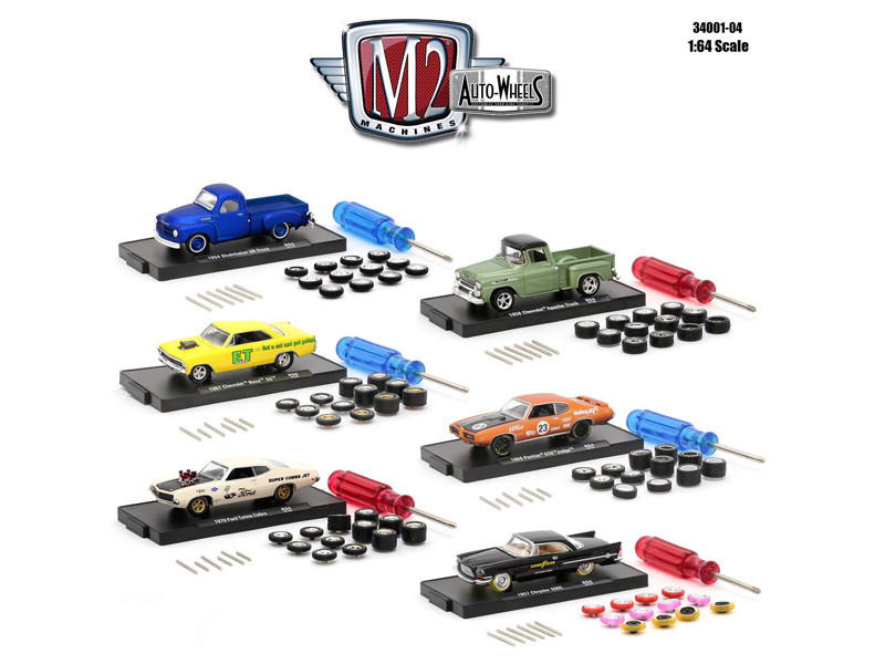 Auto Wheels 6 Cars Set Release 4 IN BLISTER PACK 1/64 Diecast Model Cars M2 Machines 34001-04