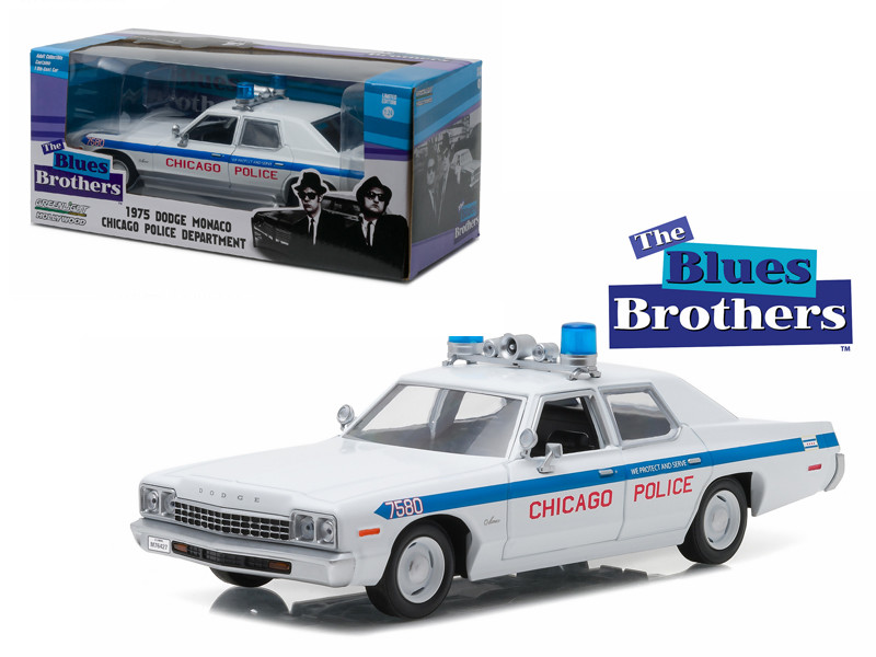 """1975 Dodge Monaco Chicago Police """"The Blues Brothers"""" Movie 1/24 Diecast Model Car Greenlight 84012"""