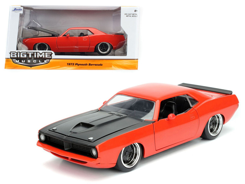 1973 Plymouth Barracuda Orange with Matt Black 1/24 Diecast Model Car Jada 98236