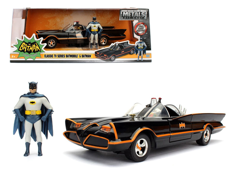 1966 Classic TV Series Batmobile with Diecast Batman and Plastic Robin in the car 1/24 Diecast Model Car by Jada
