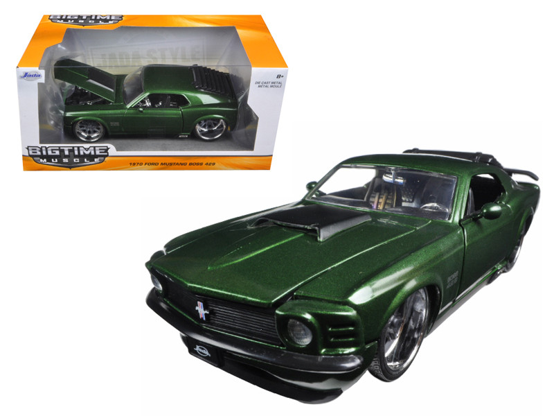 1970 Ford Mustang Boss 429 Dark Green Metallic 1/24 Diecast Model Car Jada 98168