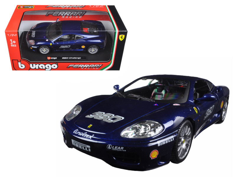 Ferrari 360 Challenge Blue 1/24 Diecast Model Car Bburago 26304