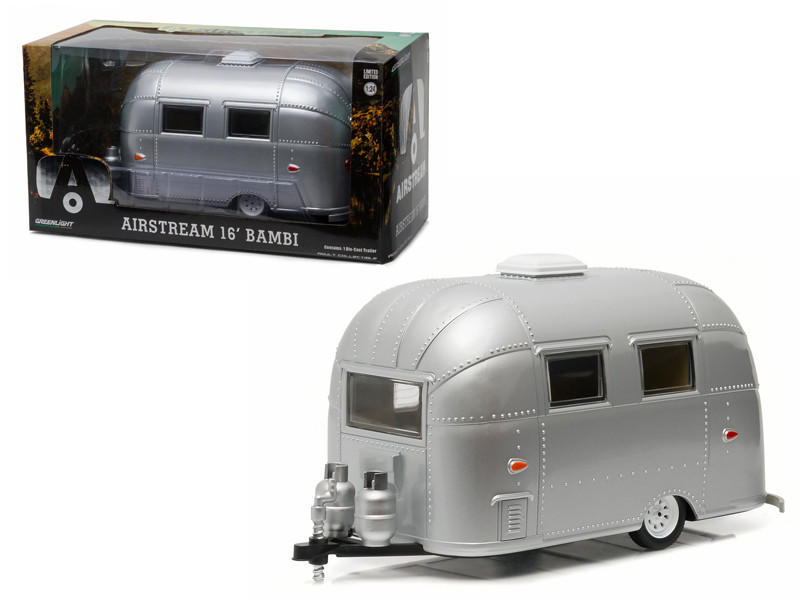 Airstream Bambi 16' Camper Trailer Silver for 1/24 Scale Model Cars and Trucks 1/24 Diecast Model Greenlight 18224