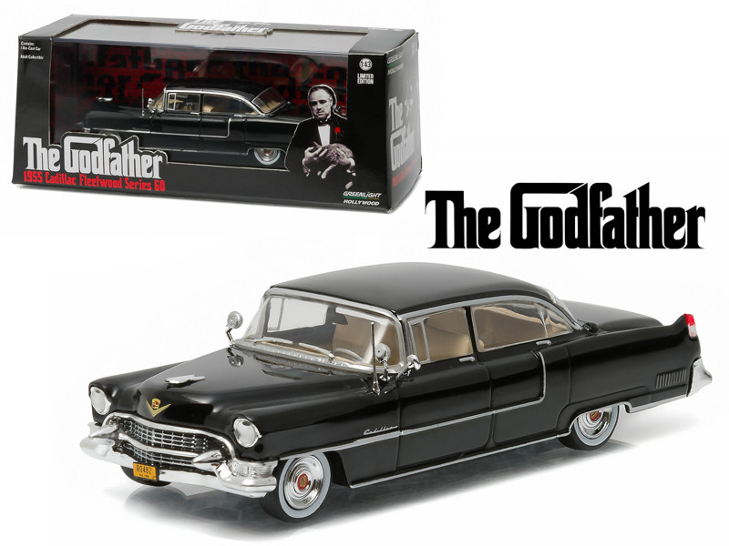 The Godfather 1955 Cadillac Fleetwood Series 60 Special Black 1972 Movie 1/43 Diecast Model Car Greenlight 86492