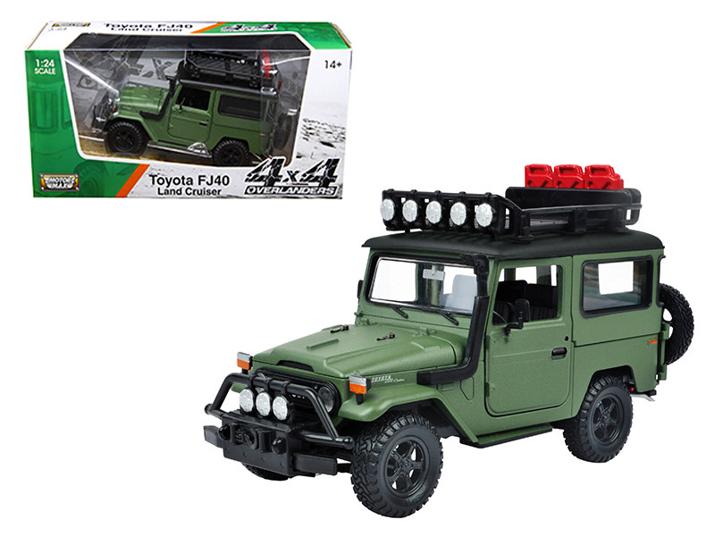 "Toyota FJ40 Land Cruiser Matt Green \4x4 Overlanders"" Series 1/24 Diecast Model Car by Motormax"""""""