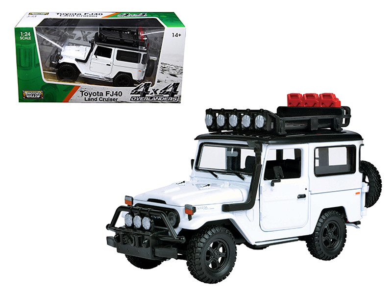 "Toyota FJ40 Land Cruiser White \4x4 Overlanders"" Series 1/24 Diecast Model Car by Motormax"""""""