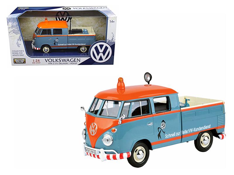 Volkswagen Type 2 T1 Delivery Pickup Truck Blue Orange Kundendienst 1/24 Diecast Model Car Motormax 79555