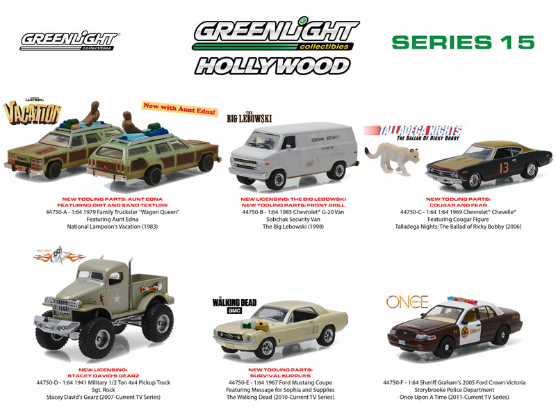 Diecast model cars wholesale toys dropshipper drop shipping hollywood series release 15 6pc diecast car set 164 diecast model cars greenlight 44750 aloadofball Gallery