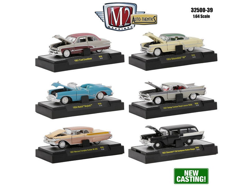 Auto Thentics 6 Piece Set Release 39 IN DISPLAY CASES 1/64 Diecast Model Cars M2 Machines 32500-39