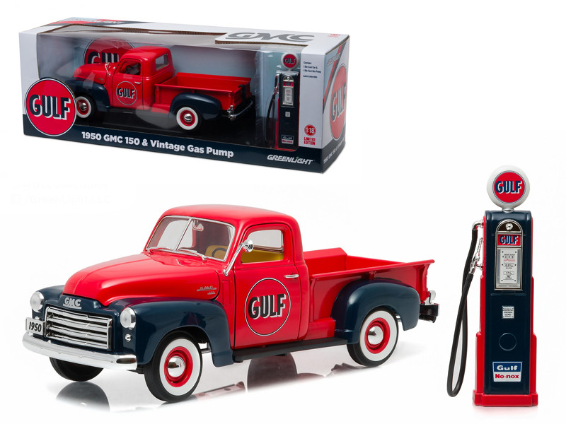 1950 GMC 150 Pickup Truck Gulf Oil with Vintage Gas Pump 1/18 Diecast Model Car Greenlight 12984