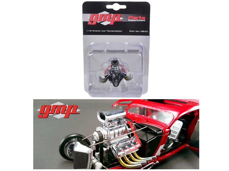 1934 Blown 426 Nitro Coupe Drag Engine and Transmission Replica 1/18 by GMP