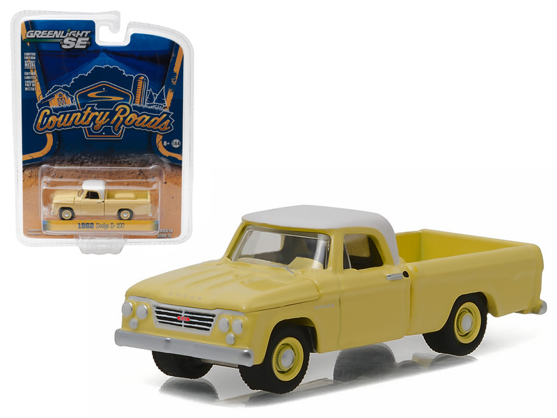 """1962 Dodge D-100 Pickup Truck Sunset Yellow \Country Roads\"""" Series 15 1/64 Diecast Model Car by Greenlight"""""""""""""""