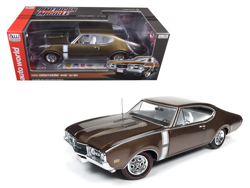 1968 Oldsmobile Cutlass 442 Hardtop Cinnamon Bronze Limited Edition to 1002pcs 1/18 Diecast Model Car by Autoworld