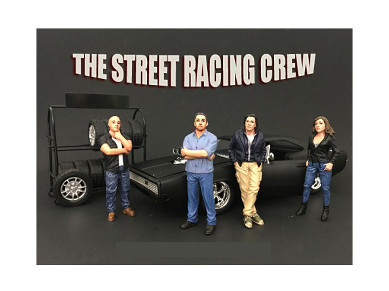 The Street Racing Crew 4 Piece Figure Set For 1:24 Scale Models American Diorama 77481 77482 77483 77484