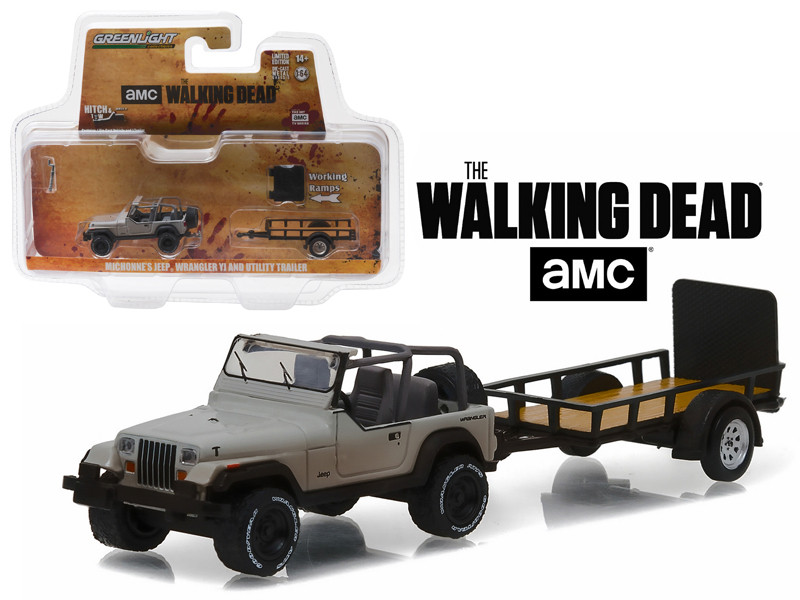 Michonne's Jeep Wrangler YJ and Utility Trailer The Walking Dead 2010 Current TV Series Hitch & Tow Series 8 1/64 Diecast Model Car Greenlight 32080 B