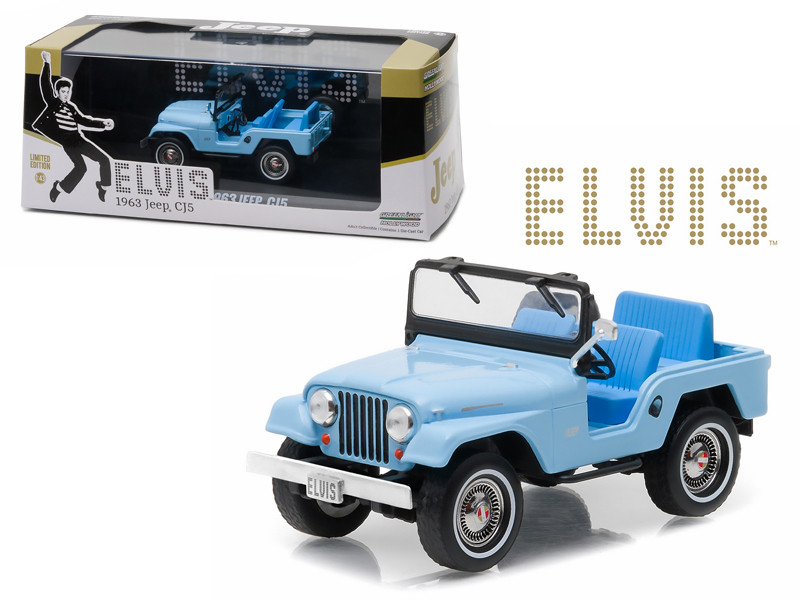 1963 Jeep CJ5 Sierra Blue Elvis Presley 1935-1977 1/43 Diecast Model Car Greenlight 86310