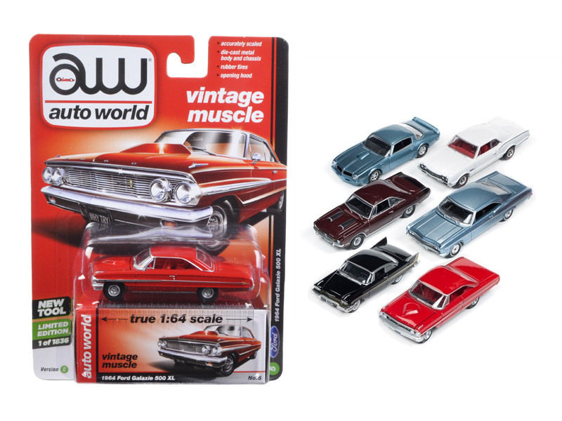 Autoworld Muscle Cars Release 5C Premium Licensed Set Of 6 Cars 1/64 Diecast Model Cars Autoworld 64042 C