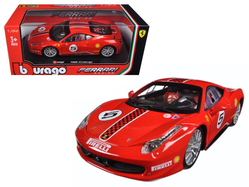 Ferrari 458 Challenge #5 Red 1/24 Diecast Model Car Bburago 26302