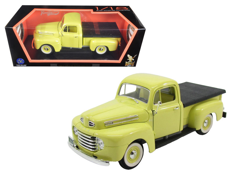 1948 Ford F-1 Pickup Truck with Flatbed Yellow 1/18 Diecast Model Car Road Signature 92218
