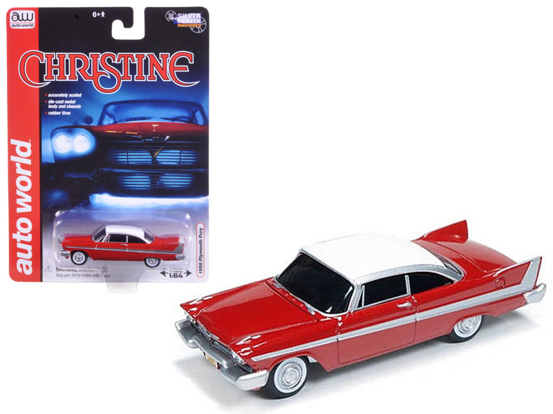 "1958 Plymouth Fury \Christine"" 1/64 Diecast Car Model by Autoworld"""""""