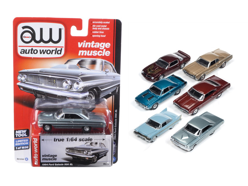 Autoworld Muscle Cars Release 5D Premium Licensed Set Of 6 Cars Limited Edition to 1836 pcs 1/64 Diecast Model Car Autoworld 64042 D