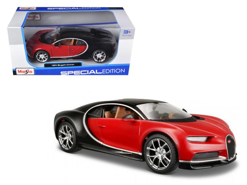 Bugatti Chiron Red Black 1/24 Diecast Model Car Maisto 31514