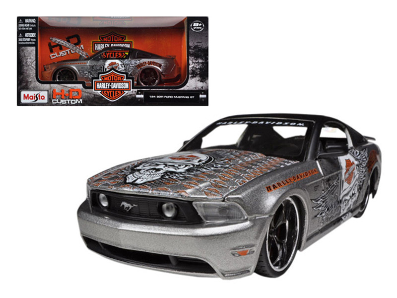 2011 Ford Mustang GT Grey Harley Davidson 1/24 Diecast Model Car Maisto 32170