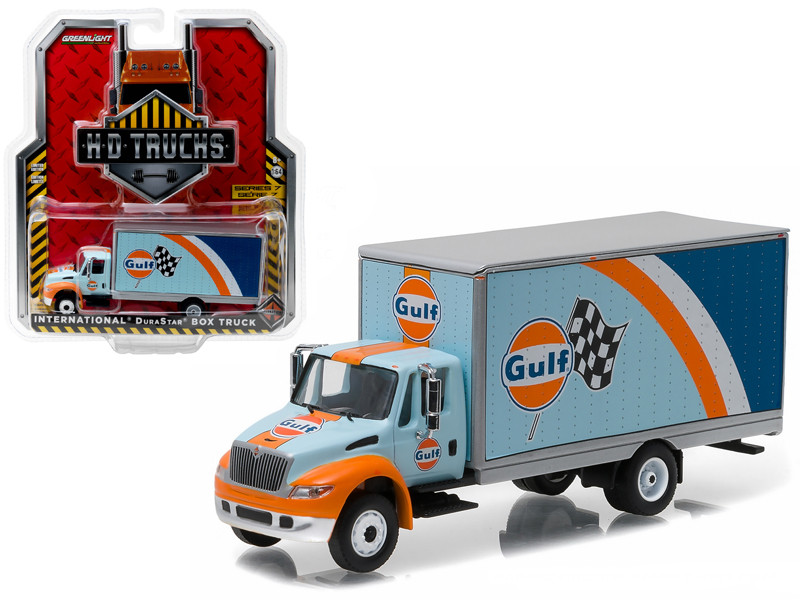 2013 International Durastar 4400 Gulf Oil Box Delivery Truck HD Trucks Series 7 1/64 Diecast Model Car Greenlight 33070 B