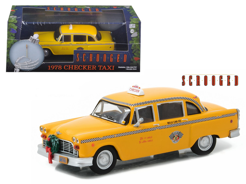 1978 Checker Taxi Cab Scrooged Movie 1988 1/43 Diecast Model Car Greenlight 86075