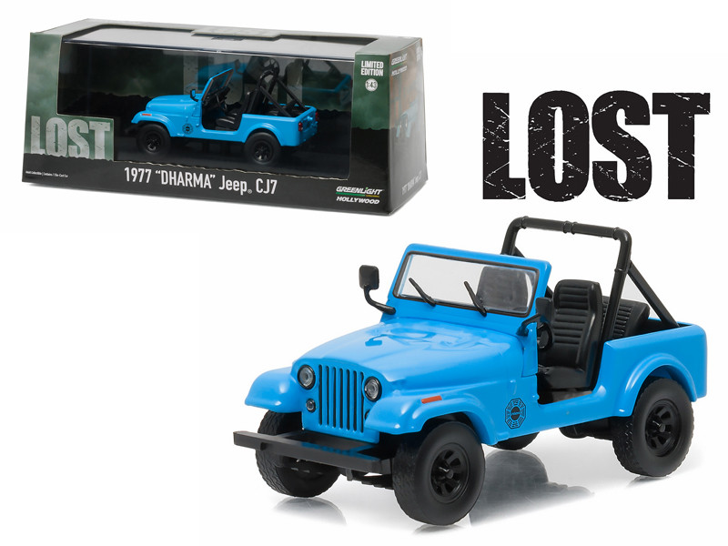1977 Dharma Jeep CJ7 Blue Lost TV Series 2004-2010 1/43 Diecast Model Car Greenlight 86309
