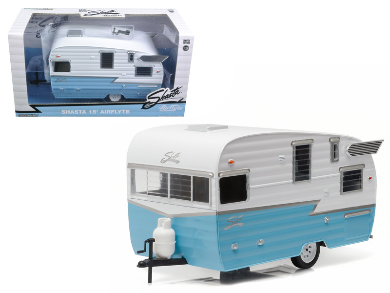 Shasta Airflyte 15' Camper Trailer Blue for 1/24 Scale Model Cars and Trucks 1/24 Diecast Model Greenlight 18229