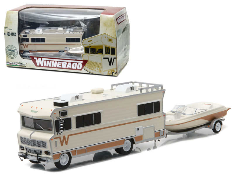 1973 Winnebago Chieftain RV with Boat and Boat Trailer 1/64 Diecast Model Greenlight 51082