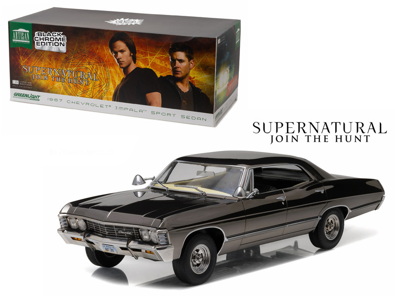 1967 Chevrolet Impala Sport Sedan Black Chrome Edition Supernatural TV Series 2005 1/18 Diecast Model Car Greenlight 19024