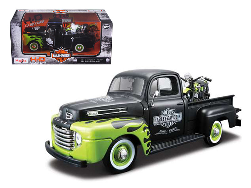 1948 Ford F-1 Pickup Truck Harley Davidson With 1948 FL Panhead Motorcycle Black/Green 1/24 Maisto 32171