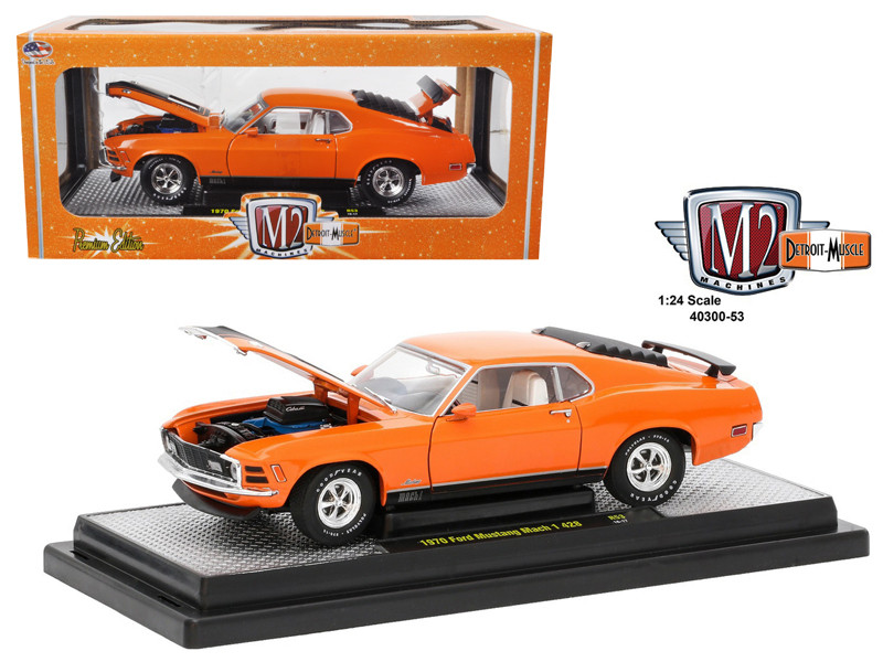 1970 Ford Mustang Mach 1 428 Grabber Orange 1/24 Diecast Model Car M2 Machines 40300-53 D