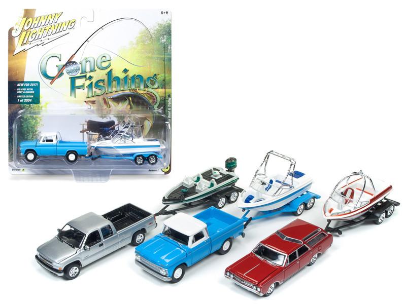 Gone Fishing 2017 Release 1A Set of 3 1/64 Diecast Model Cars Johnny Lightning JLBT001 A