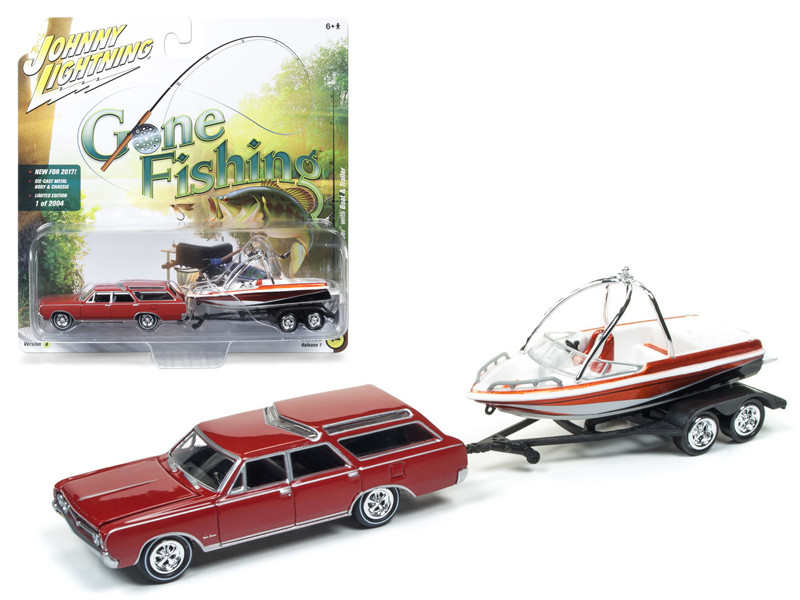 "1964 Oldsmobile Vista Cruiser Regal Red with Boat and Trailer \Gone Fishing"" 1/64 Diecast Model Car by Johnny Lightning"""""""