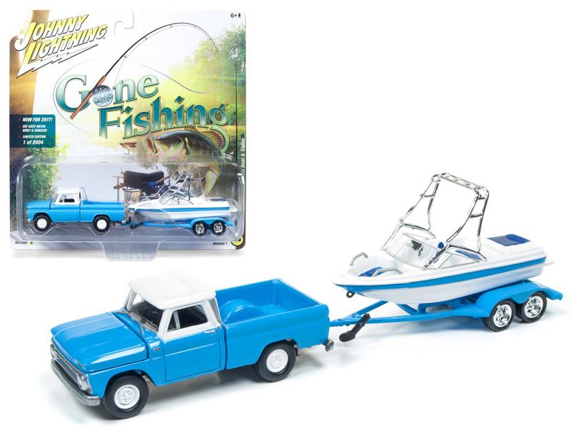 1965 Chevrolet Truck Light Blue with Boat and Trailer Gone Fishing 1/64 Diecast Model Car Johnny Lightning JLBT001 A 1965CHEVY