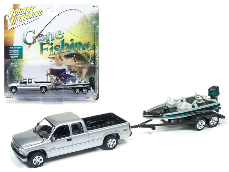 2002 Chevrolet Silverado Pickup Truck Silver with Boat and Trailer Gone Fishing 1/64 Diecast Model Car Johnny Lightning JLBT001 A 2002CHEVY