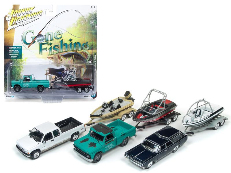 Gone Fishing 2017 Release 1B Set of 3 1/64 Diecast Model Cars Johnny Lightning JLBT001 B