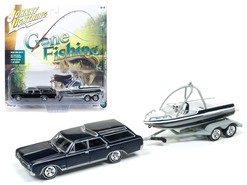 "1964 Oldsmobile Vista Cruiser Midnight Mist Blue with Boat and Trailer \Gone Fishing"" 1/64 Diecast Model Car by Johnny Lightning"""""""