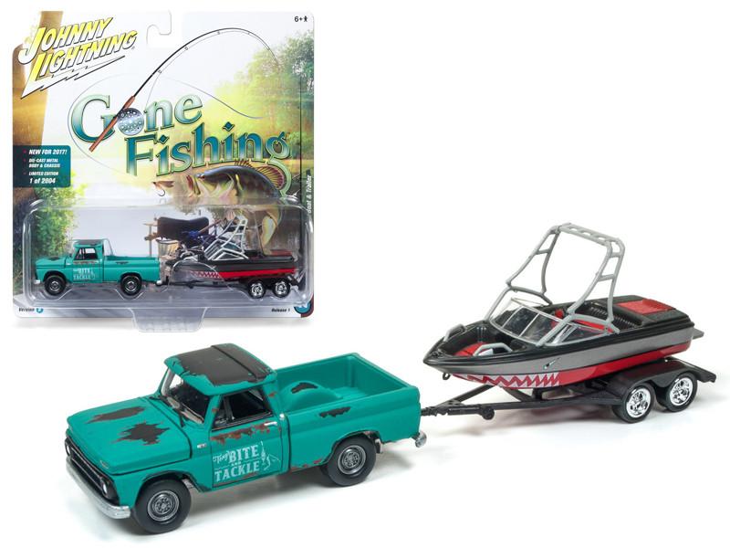 1965 Chevrolet Truck Green with Boat and Trailer Gone Fishing 1/64 Diecast Model Car Johnny Lightning JLBT001 B 1965CHEVY
