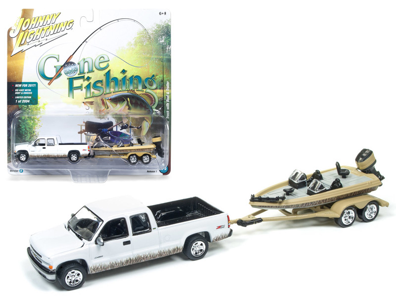 2002 Chevrolet Silverado Pickup Truck White with Boat and Trailer Gone Fishing 1/64 Diecast Model Car Johnny Lightning JLBT001 B 2002CHEVY