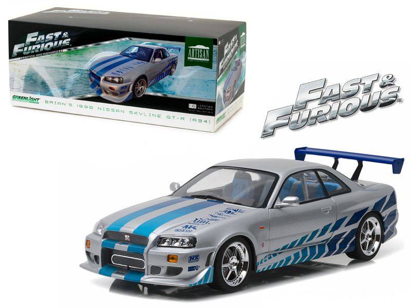 1999 Nissan Skyline GT-R R34 Fast & Furious 2 Fast 2 Furious Movie 2003 1/18 Diecast Model Car Greenlight 19029