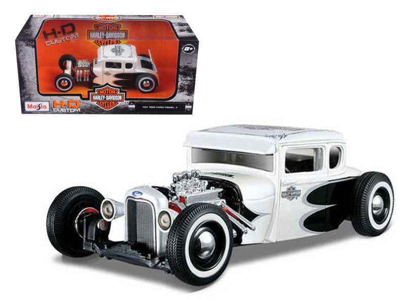 1929 Ford Model A White Harley Davidson 1/24 Diecast Model Car Maisto 32175